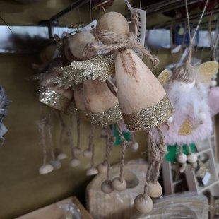 Addobbi albero di natale, angioletti in legno con finiture oro id_614