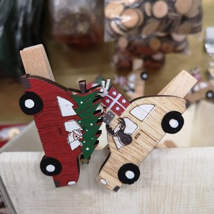 Mollette macchine in legno babbo natale e renna id_625